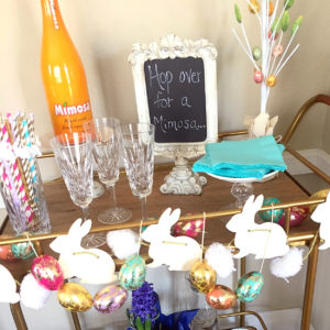 mimosa bar cart | polka dots and picket fences