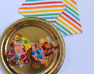 rainbow party mix   polka dots and picket fences