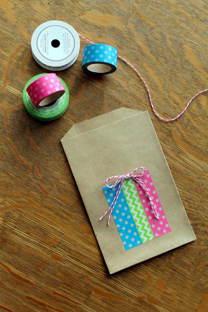 washi tape gift bags | polka dots and picket dences