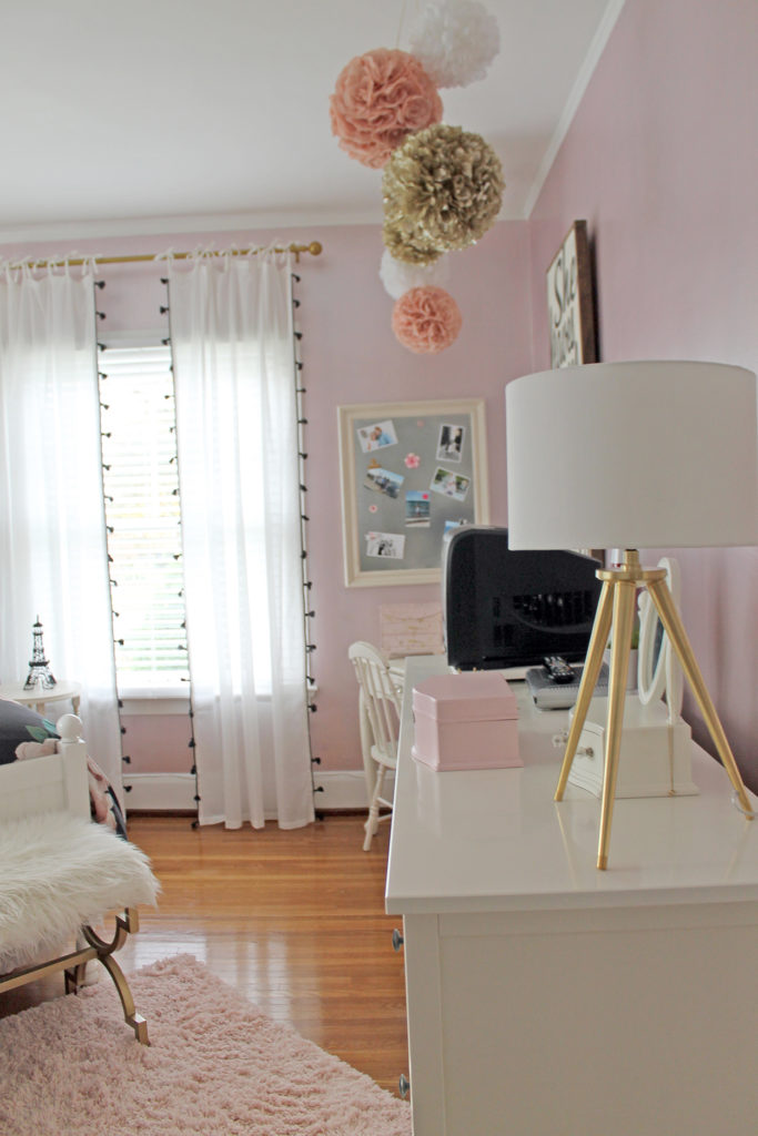 blush and gold girl's bedroom | polka dots and picket fences