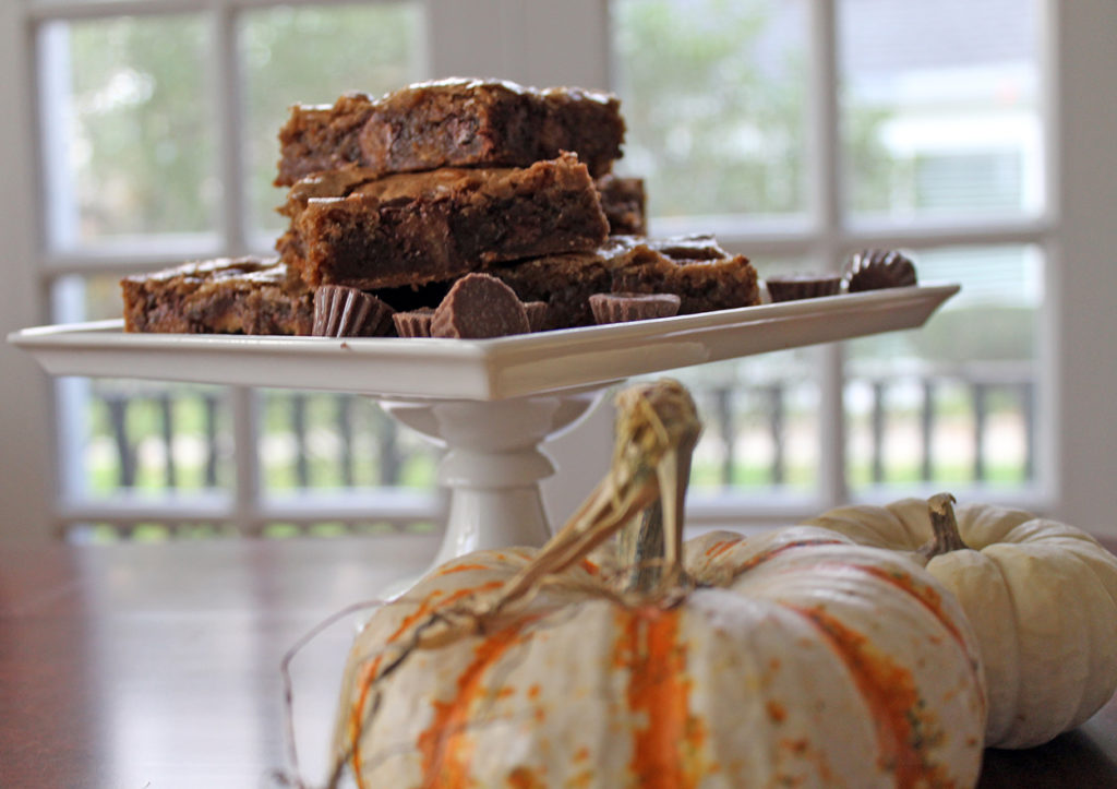 peanut butter cup blondies | polka dots and picket fences