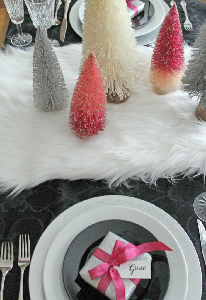 glam christmas tablescape | polka dots and picket fences