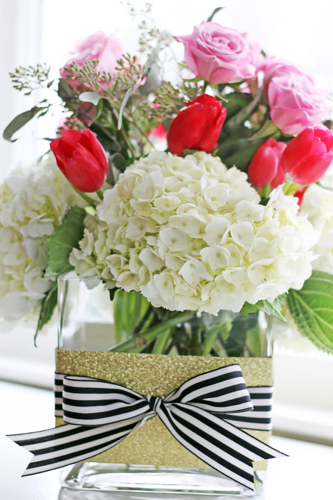 valentine flower arrangement | polka dots and picket fences
