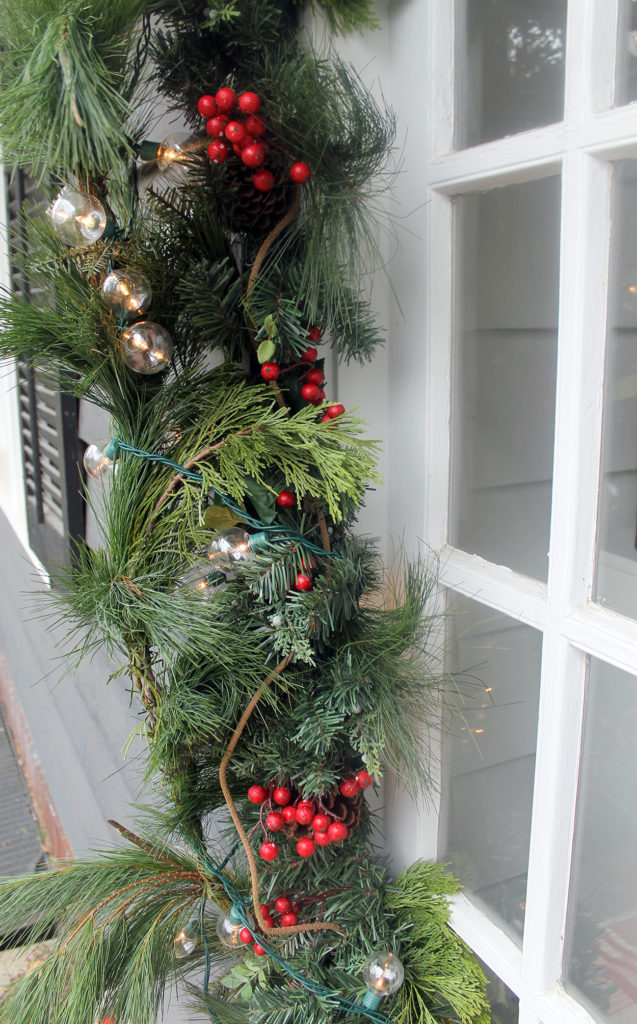 front door holiday decor | polka dots and picket fences